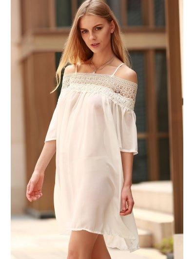 Lace Splicing Boat Neck Spaghetti Straps Dress - WHITE XL Mobile