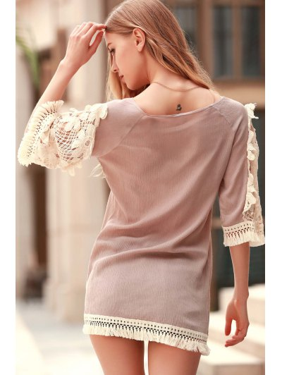 Perspective Lace Splicing Round Neck 3/4 Sleeve Dress - LIGHT KHAKI M Mobile