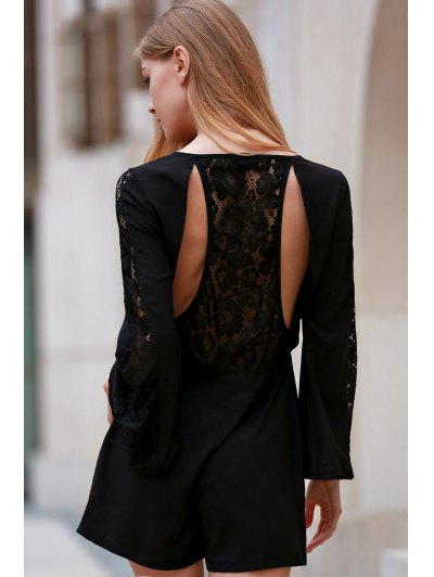 Black Lace Splicing Plunging Neck Long Sleeve Romper - BLACK S Mobile