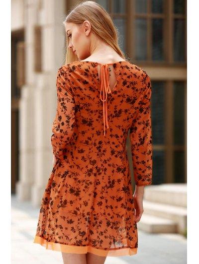 3/4 Sleeve Floral Print Flared Dress от Zaful.com INT