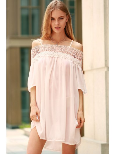 Lace Splicing Boat Neck Spaghetti Straps Dress - SHALLOW PINK S Mobile