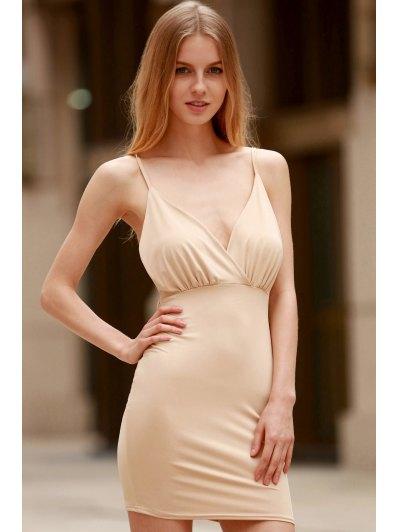 Women Spaghetti Strap Backless Club Dress - KHAKI XL Mobile