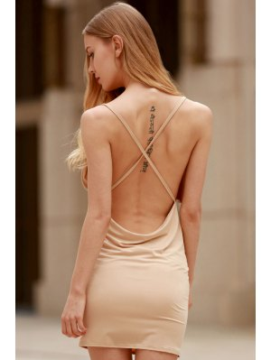 Women Spaghetti Strap Backless Club Dress - Khaki