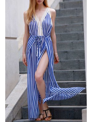 Vertical Striped Slit Dress - Blue And White