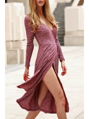 Low Cut Long Sleeve Midi Dress - Claret