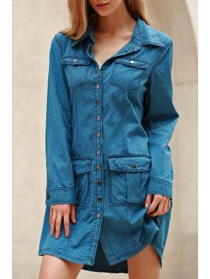 Blue Denim Long Sleeve Shirt Dress - Blue