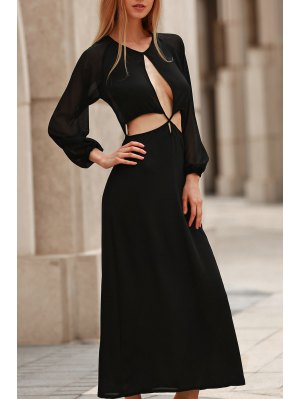 Hollow Out Long Sleeve Backless Maxi Dress - Black