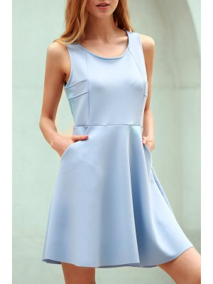 Light Blue Hollow Scoop Neck Sleeveless Sundress - Light Blue