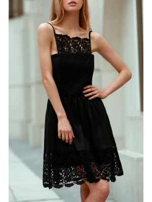 Semi Formal Lace Spliced Cami Black Dress - Black