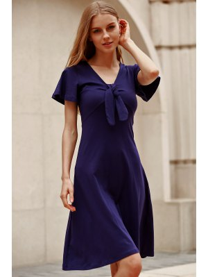 Solid Color Plunging Neck Short Sleeve Midi Dress - Navy Blue
