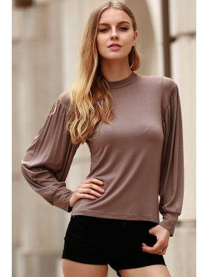 Caqui Soporte De La Manga Del Cuello Camiseta Larga - Caqui