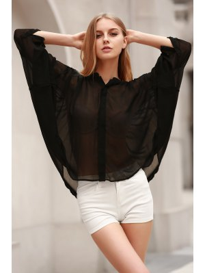 Black Stand Neck Half Sleeve See-Through Blouse - Black