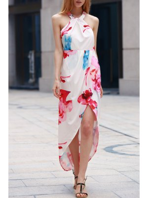 Irregular Hem Flower Print Dress - White