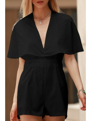 Solid Color Plunging Neck Bat-Wing Sleeve Romper - Black