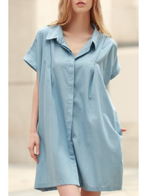 Loose Retro Turn-Down Collar Short Sleeve Dress - Light Blue