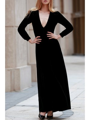 Black Velvet Plunging Neck Long Sleeve Dress - Black