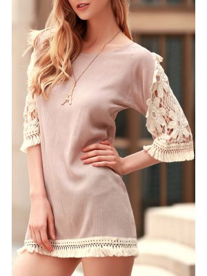 Perspective Lace Splicing Round Neck 3/4 Sleeve Dress - Light Khaki
