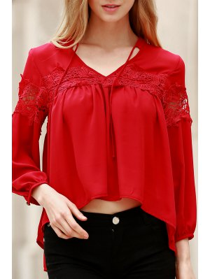 Lace Splicing V Neck Lantern Sleeve Blouse - Red