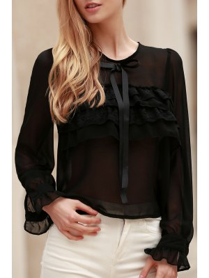 Bowknot Embellished See-Through Blouse - Black