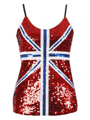 Sequin Loose Color Block Spaghetti Straps Tank Top - Red