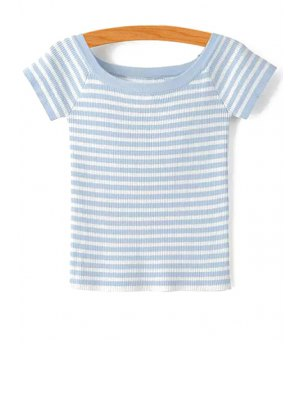 Slash Neck Striped Knit T-Shirt - Light Blue