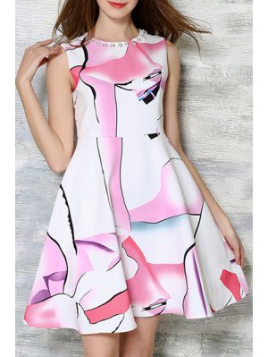 Print Round Neck Sleeveless Beaded Dress - White