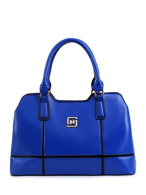 Metal Letter Solid Color Tote Bag - Blue