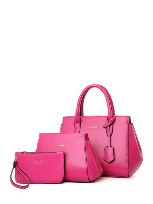 Letter Print Solid Color Tote Bag - Rose