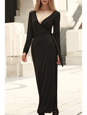 Self Tie Plunging Neck Long Sleeve Maxi Dress - Black