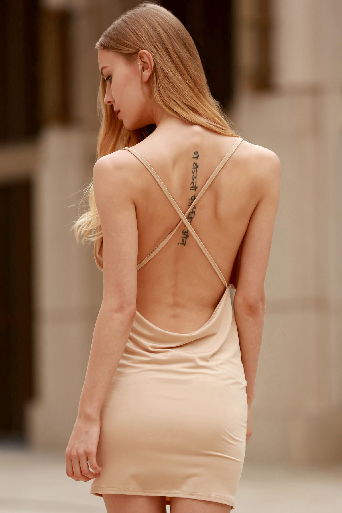 Spaghetti Strap Backless Club Dress