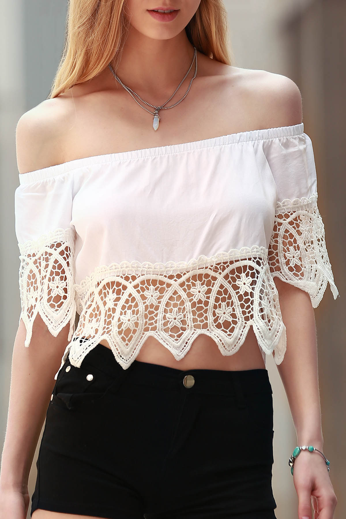 White Off The Shoulder Cut Out Short Sleeve Crop Top