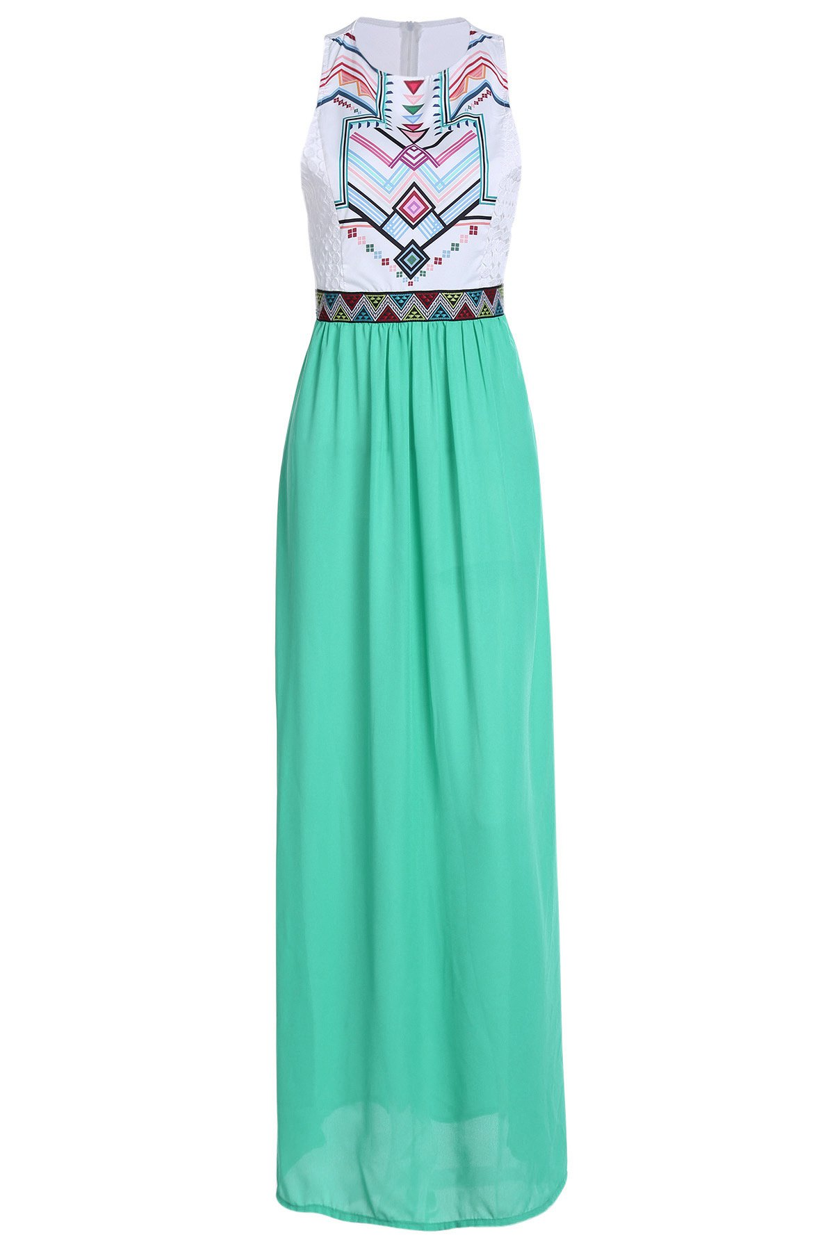 Jewel Neck Geometric Print Splicing Sleeveless Maxi Dress