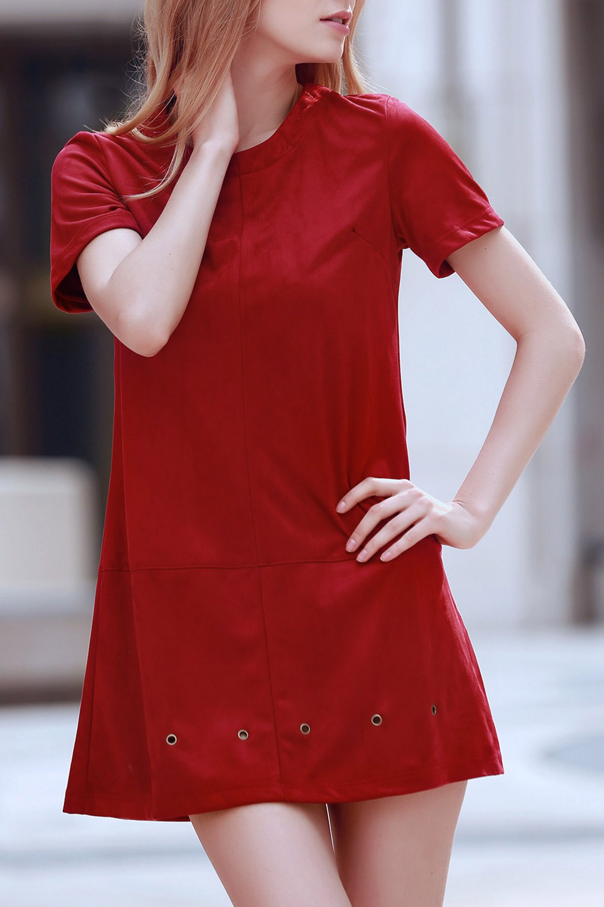Round Neck Short Sleeve Grommet Design Wine Red Dress