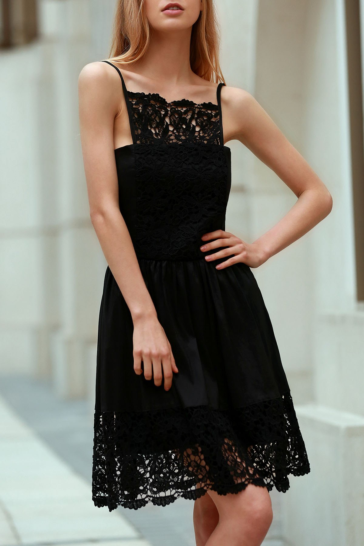 Cami Lace Spliced Black Dress
