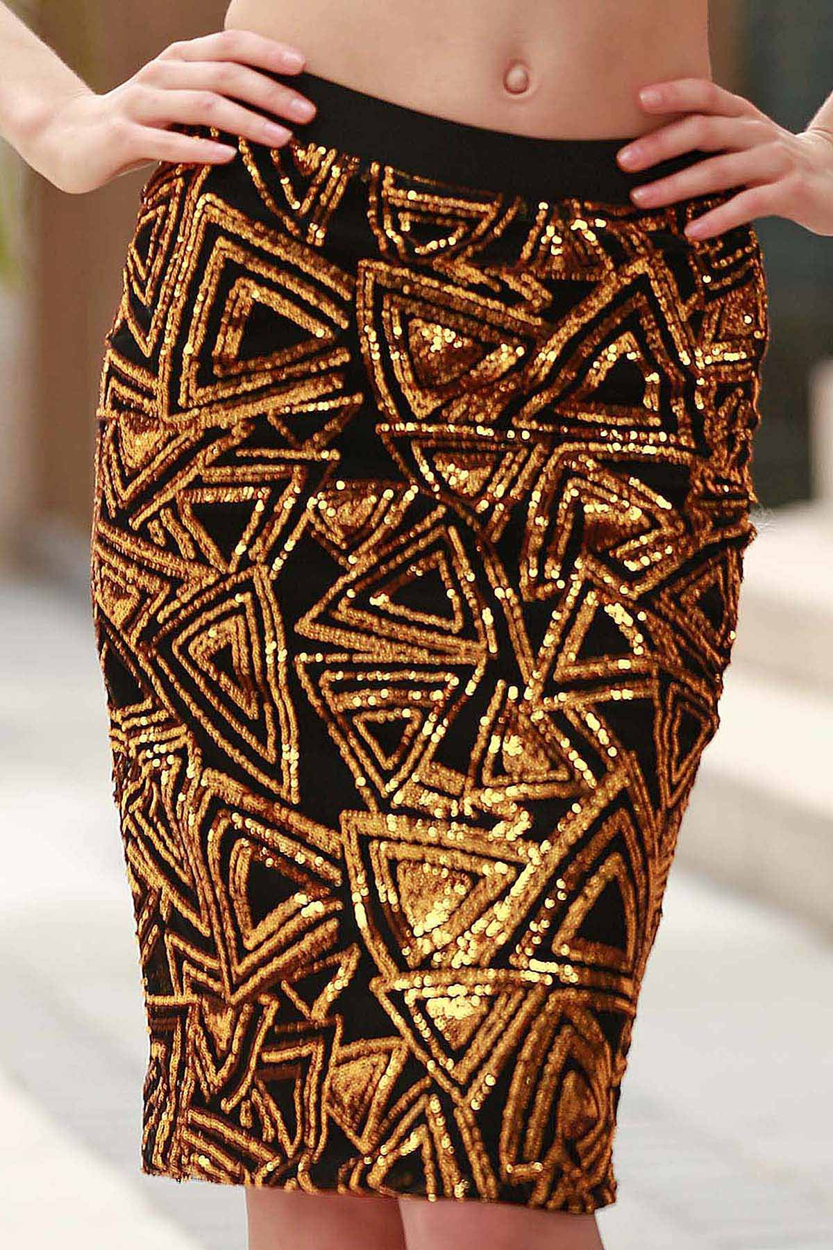High-Waisted Sequined Pencil Skirt
