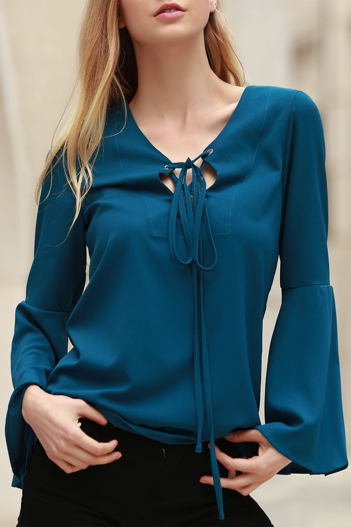 Buy Solid Color Plunging Neck Long Flare Sleeve Blouse CYAN 2XL