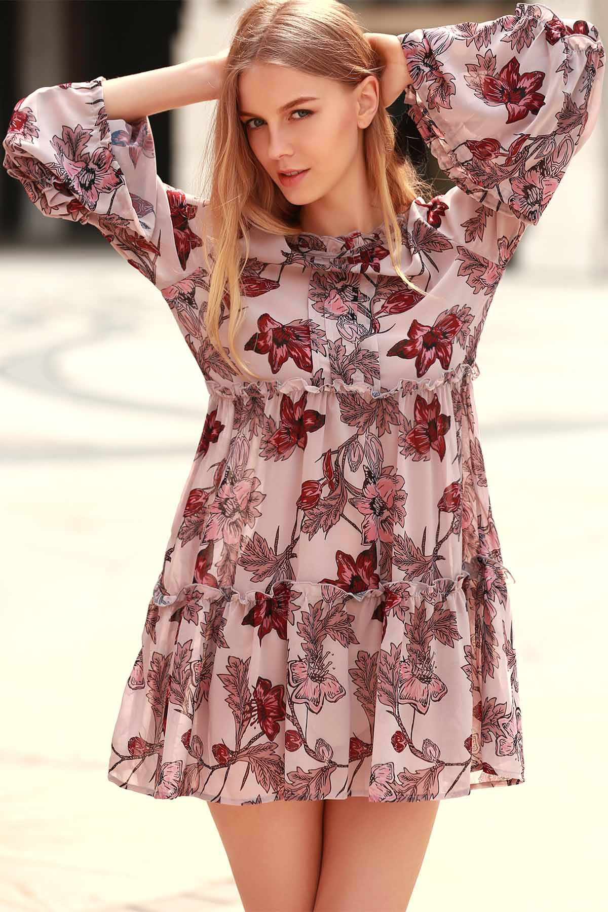 Round Neck Long Sleeve Floral Print Tiered A-Line Dress