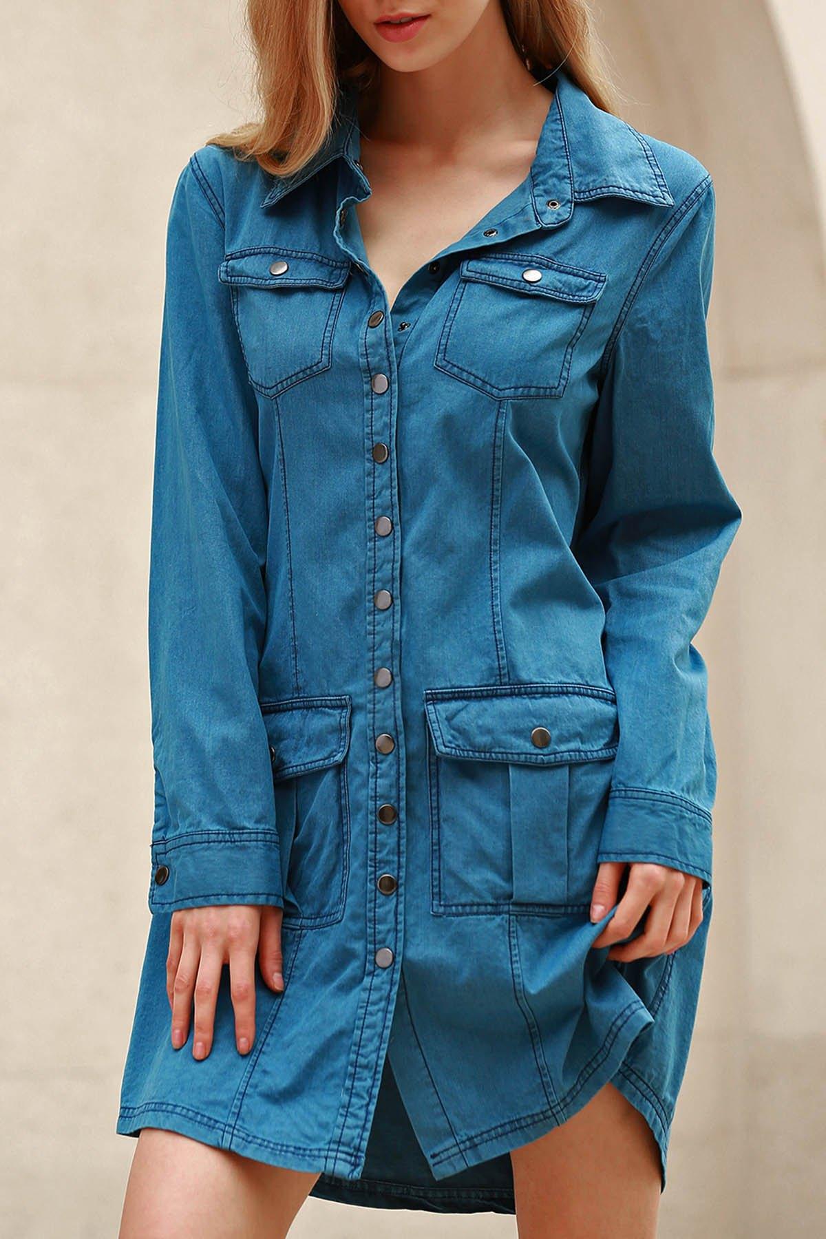 Turn Down Neck Long Sleeve Blue Denim Dress
