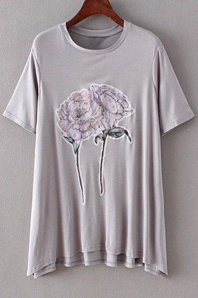 Jewel Neck Short Sleeve Flower Print Loose T-Shirt