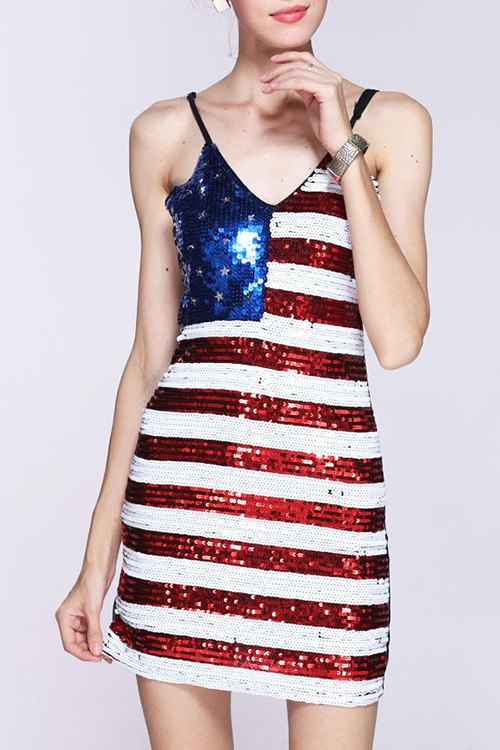 Spaghetti Straps Sleeveless Sequined Color Block Dress