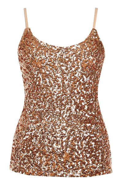 Spaghetti Straps Sequin Solid Color Tank Top