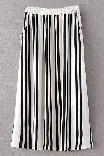 High Waist Stripe A Line Skirt