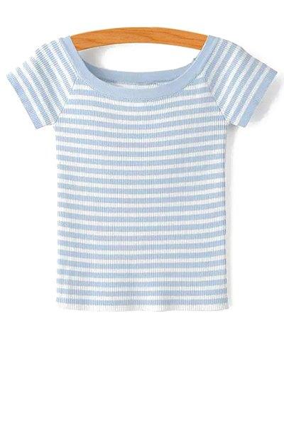 Slash Neck Short Sleeve Striped Knit T-Shirt