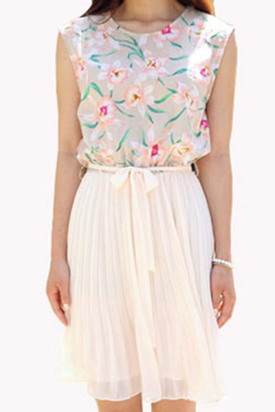 Scoop Neck Sleeveless Floral Spliced Pleated Dress