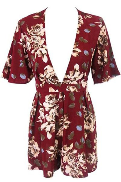 Plunging Neck Short Sleeve Floral Romper