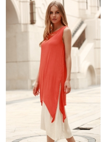 Sleeveless Flare Maxi Dress + Under Dress Twinset - ORANGE M