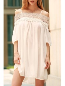 Lace Splicing Boat Neck Spaghetti Straps Dress - White