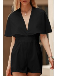 Solid Color Plunging Neck Bat-Wing Sleeve Romper