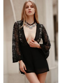Plunging Neck Combined Lace Romper With Neck Bow - Black