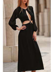 Hollow Out Long Sleeve Backless Maxi Dress